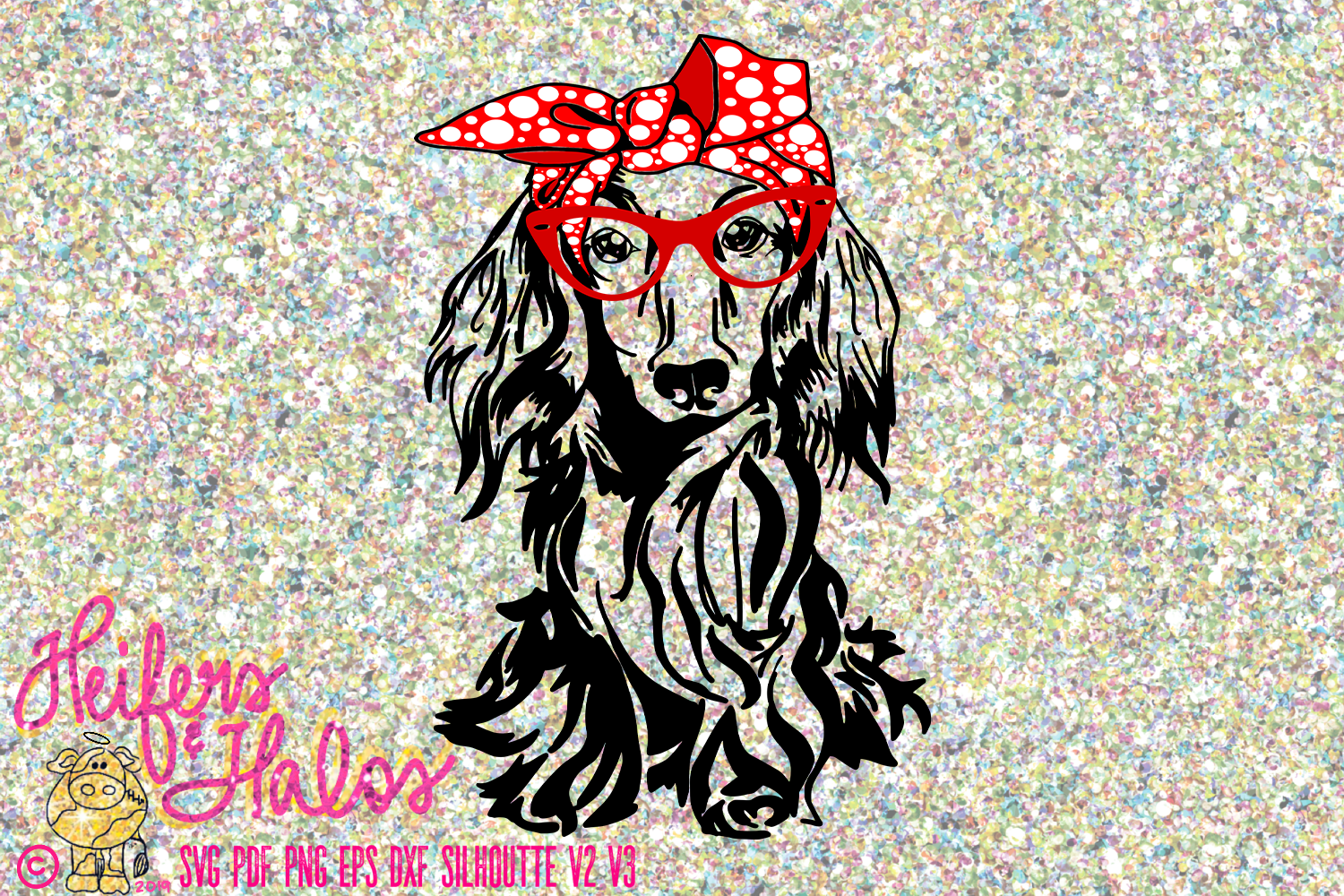 Dachshund long hair doxie with bow and glasses digital file example image 1