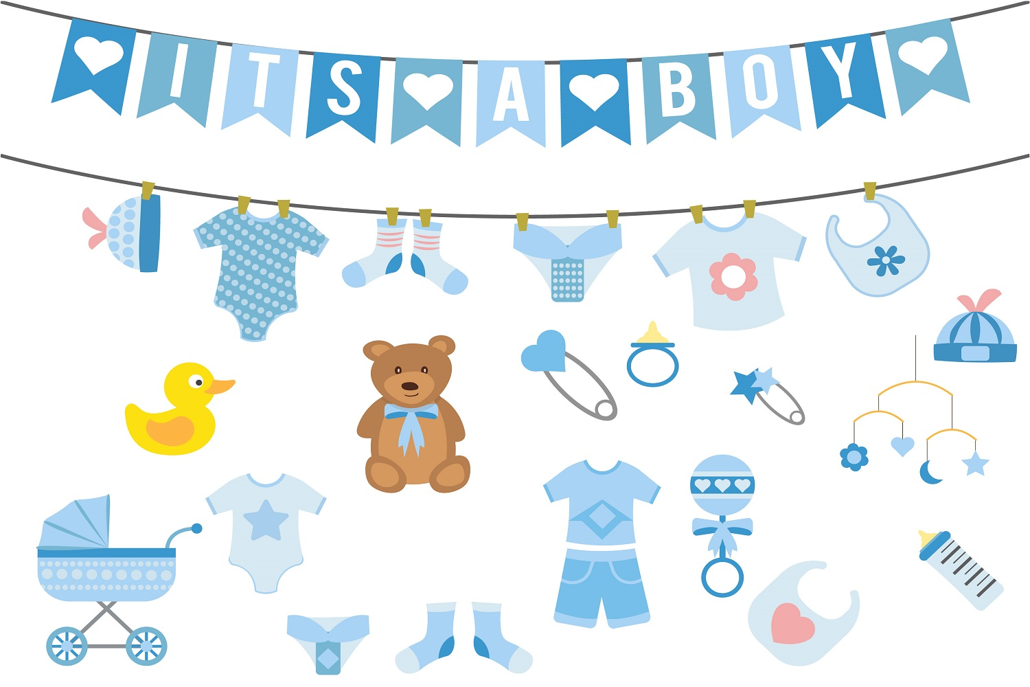 Boy baby shower illustration Vector Pack example image 1