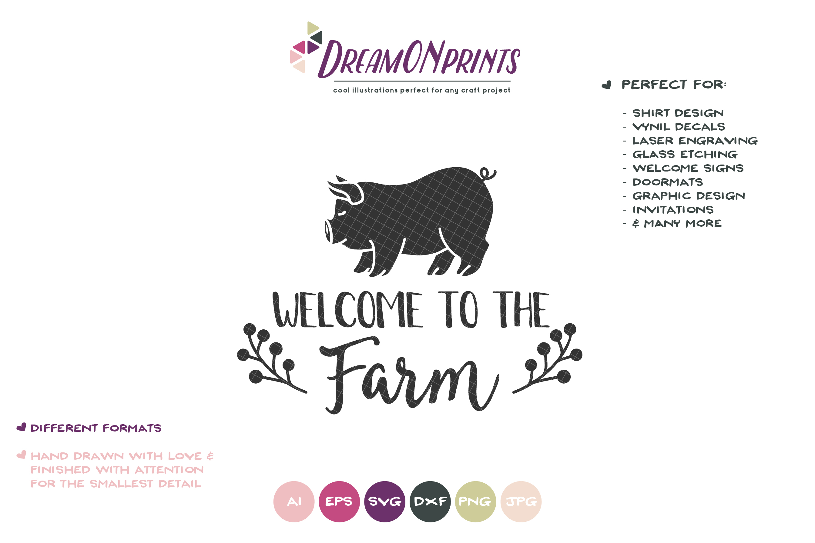 Welcome to the Farm SVG - Pig SVG Cut Files example image 2