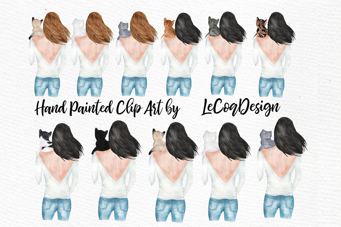 Girls and Cats Clipart Cat Lover example image 5
