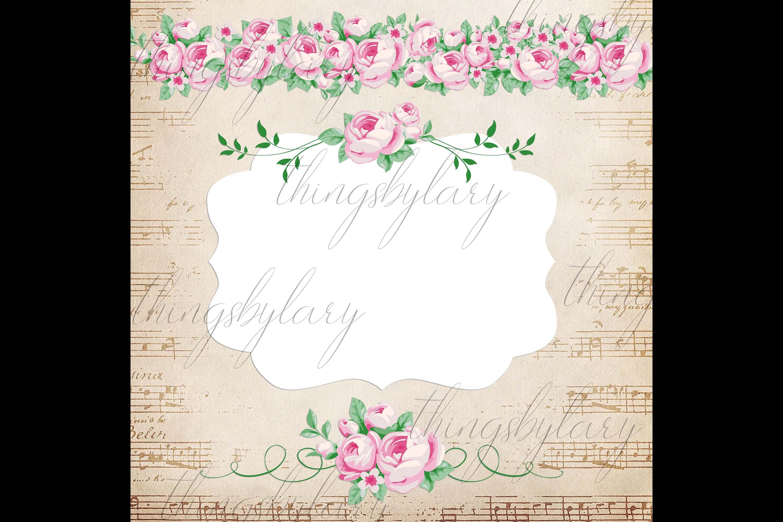 82 Romantic Pink Peony Clip Art Peony Border Bouquet Garden example image 6