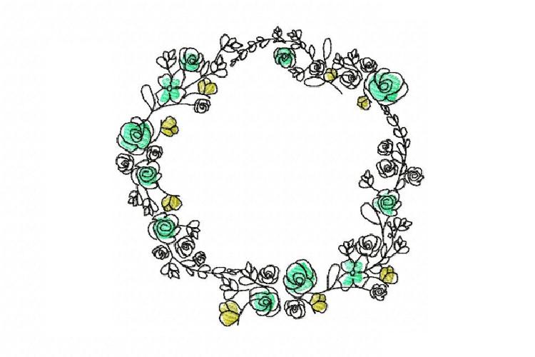 Doodle Floral Wreath monogram font border frame in 3 sizes example image 1