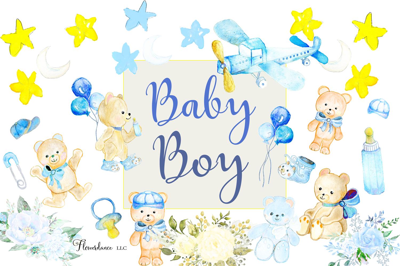 Watercolor Baby Boy Clipart example image 2