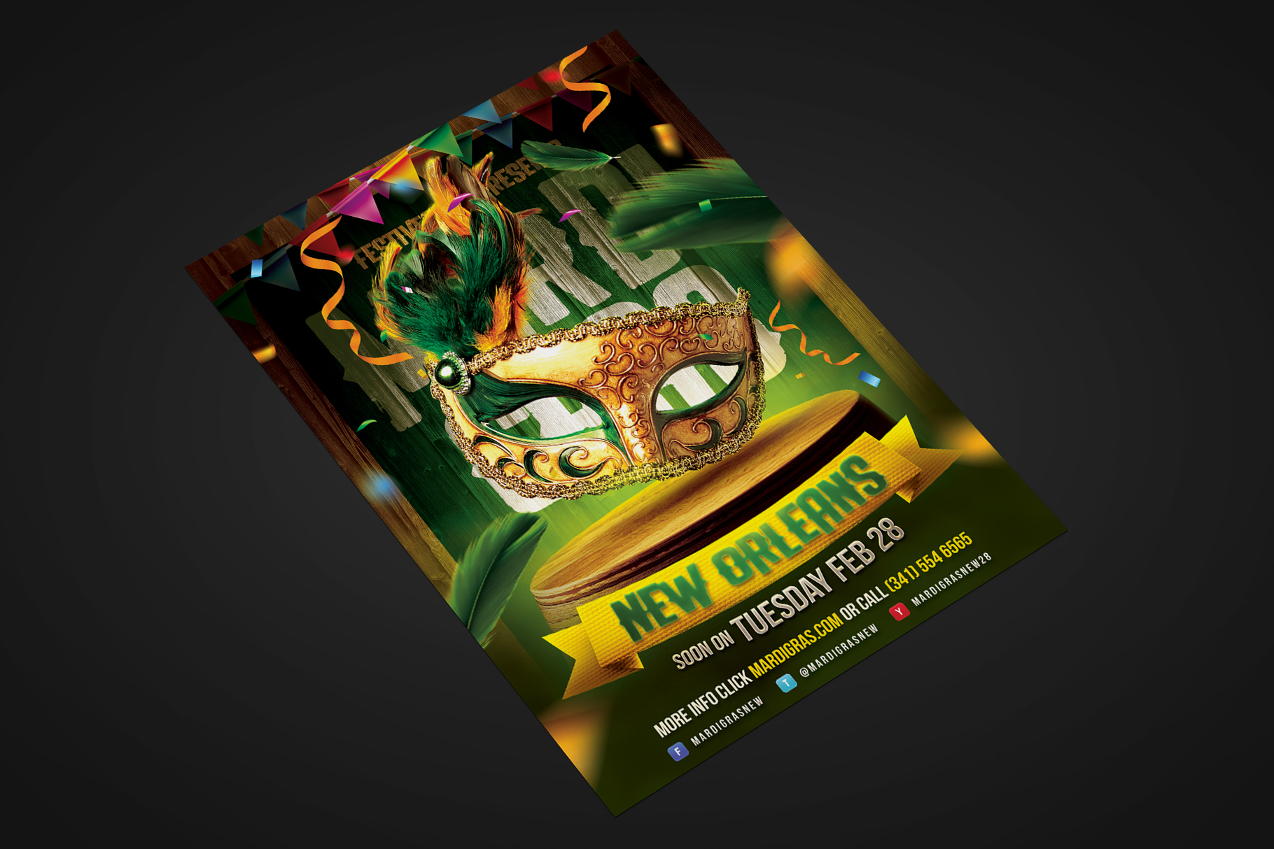 Mardi Gras Carnival Flyer example image 2