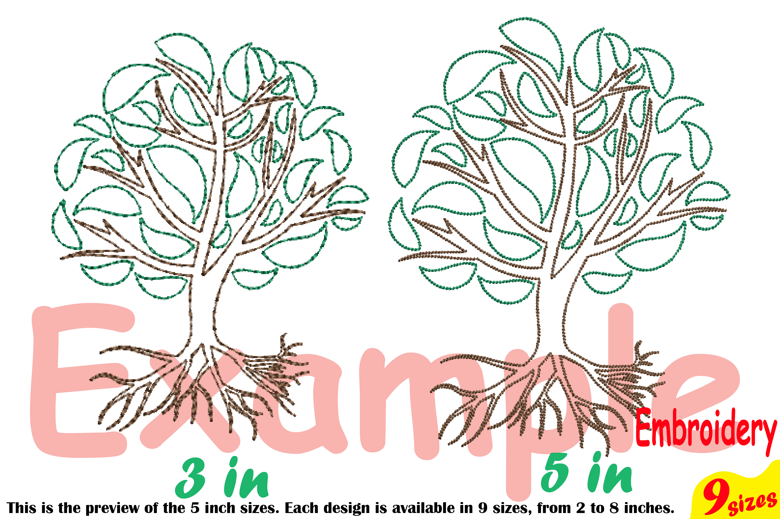Family Tree Outline Embroidery Design Machine Instant Download Commercial Use digital Outline family love Deep Roots Branches 205b example image 4