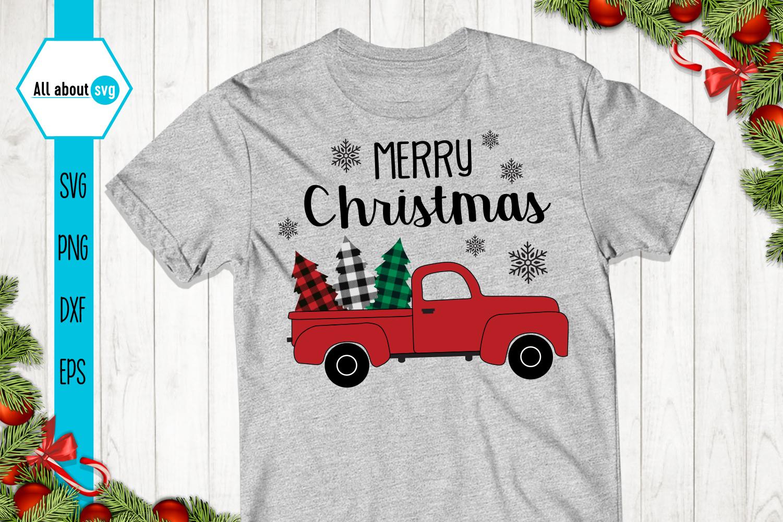 Christmas Truck Buffalo Plaid Svg example image 2