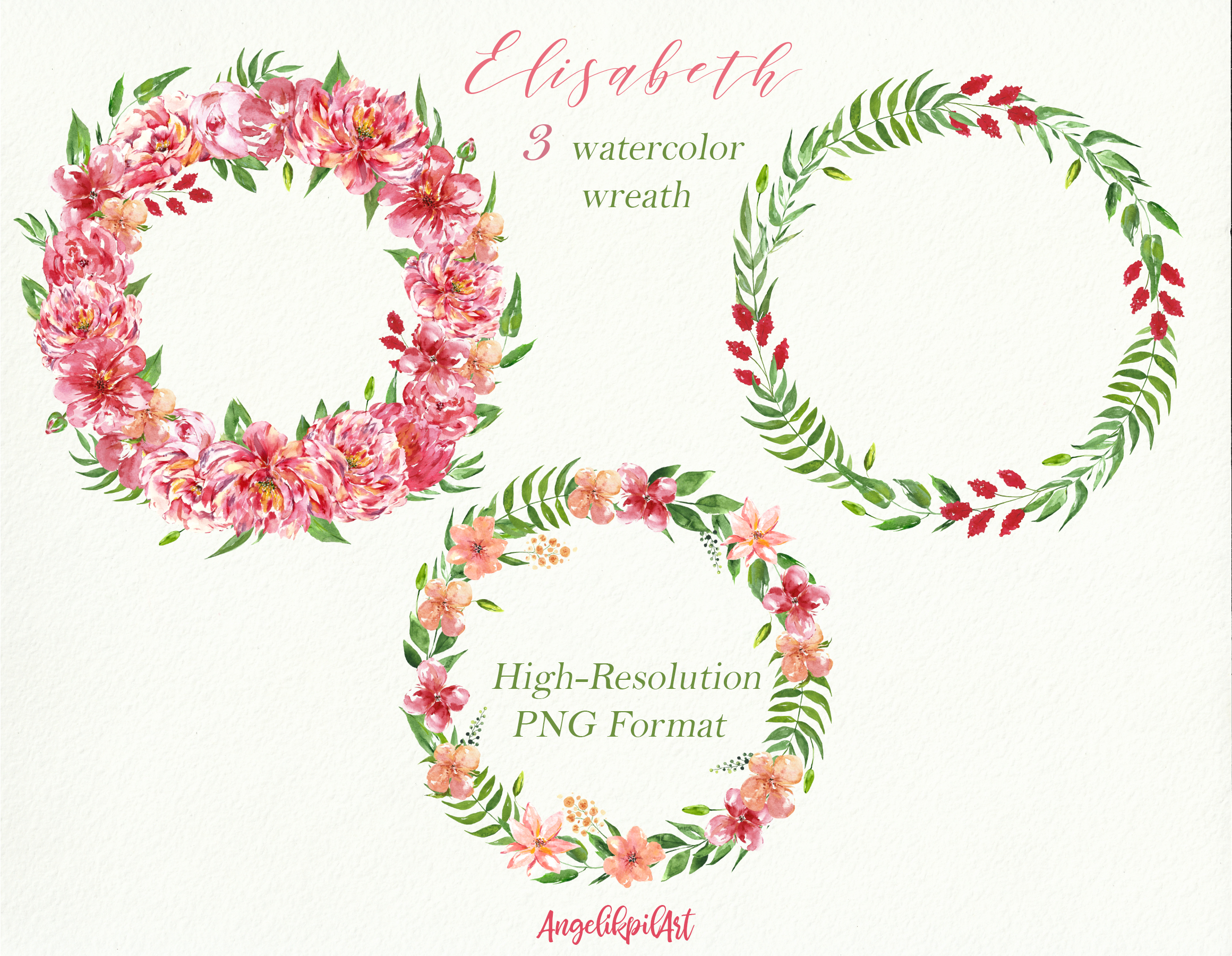 Watercolor pink flowers Clip Art example image 7
