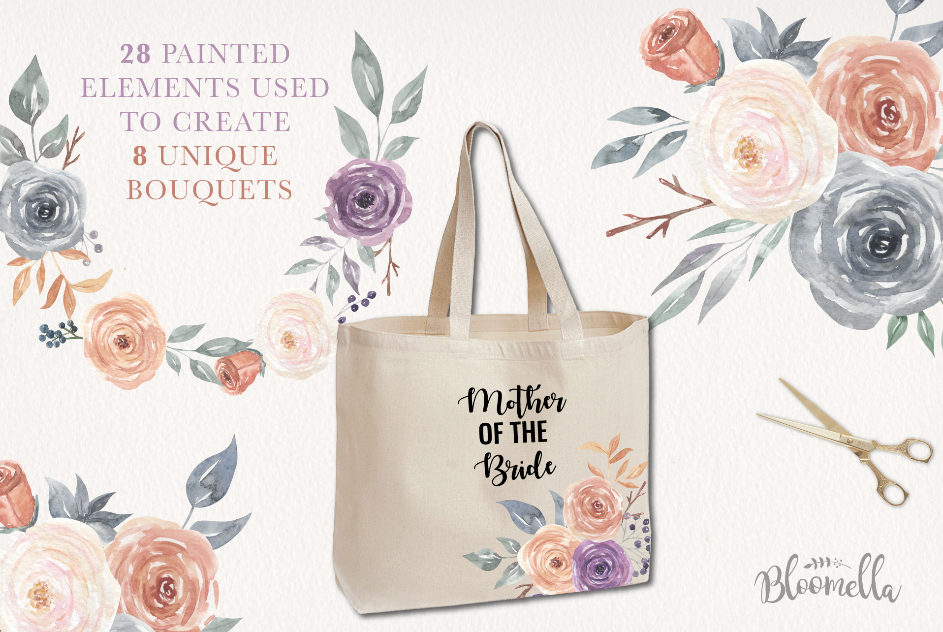 Mystical Watercolor 8 Clipart Bouquets Flowers Berries example image 3