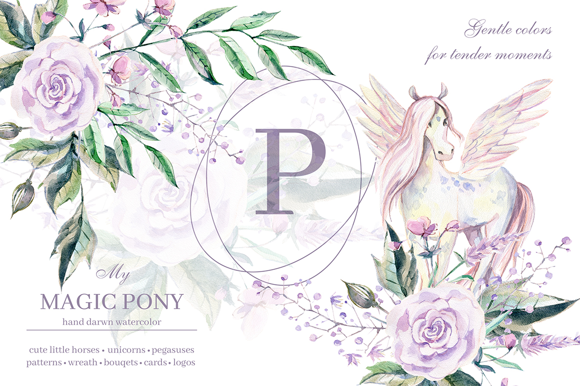 My magic Pony. Watercolor graphic kit. example image 1