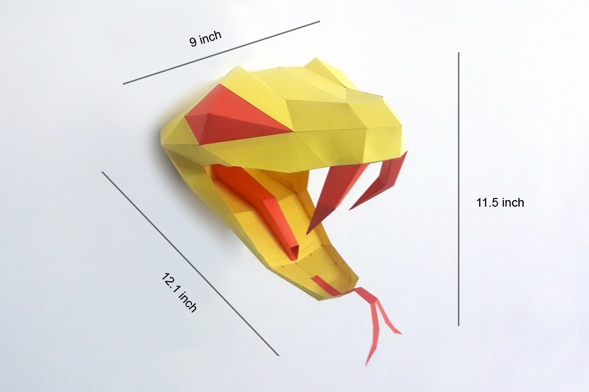 DIY Snake head Trophy - 3d papercraft example image 4