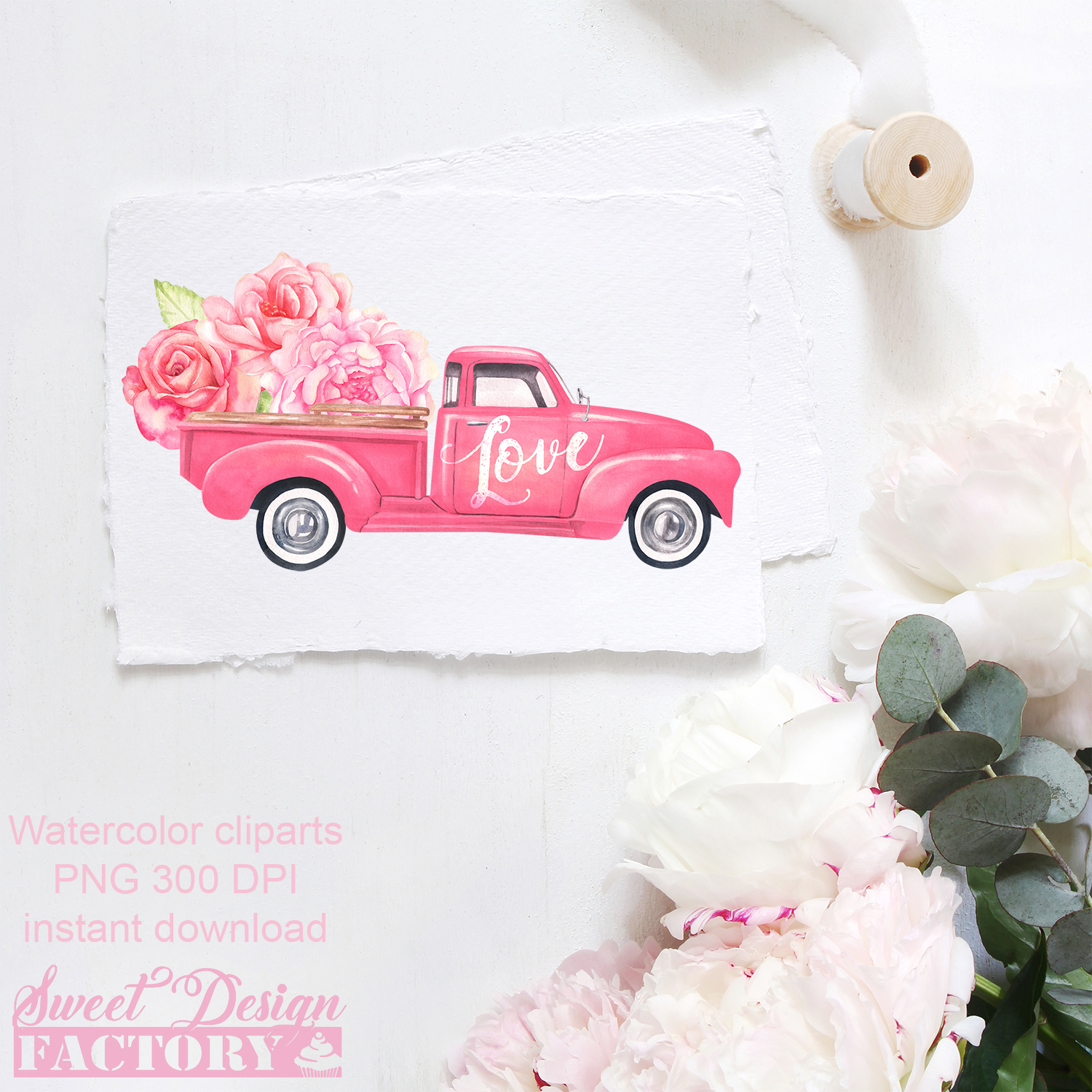 Valentine's day truck watercolor clipart example image 5