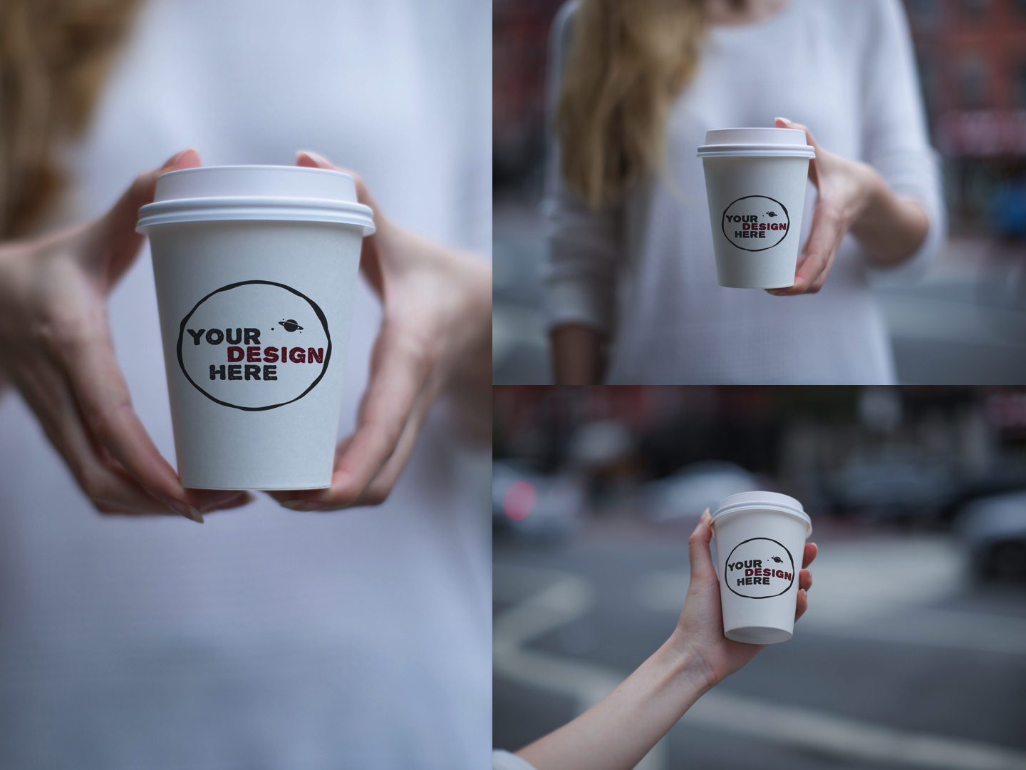 Set of 3 paper cup mockups example image 1