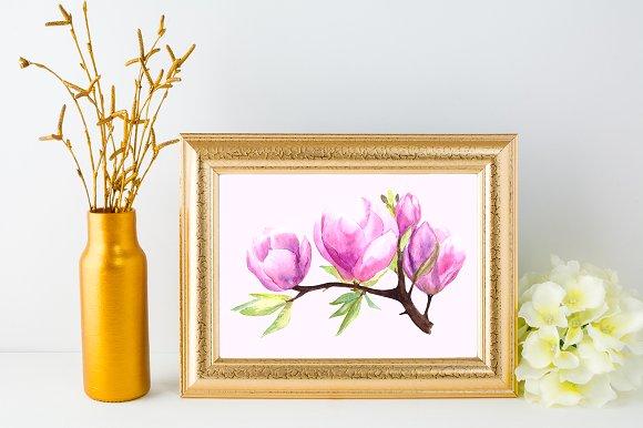 Watercolor Magnolia Clip Art Set example image 4