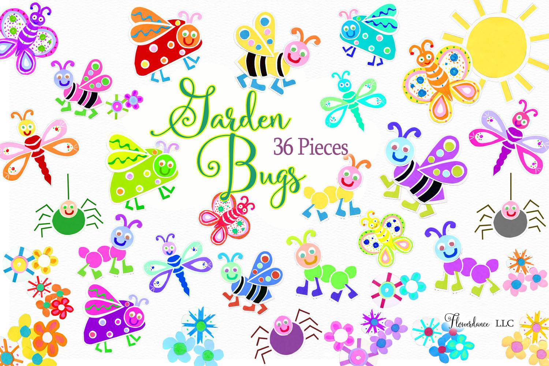 Watercolor Bugs Clipart, Garden Bugs, Bee, Ladybug example image 2