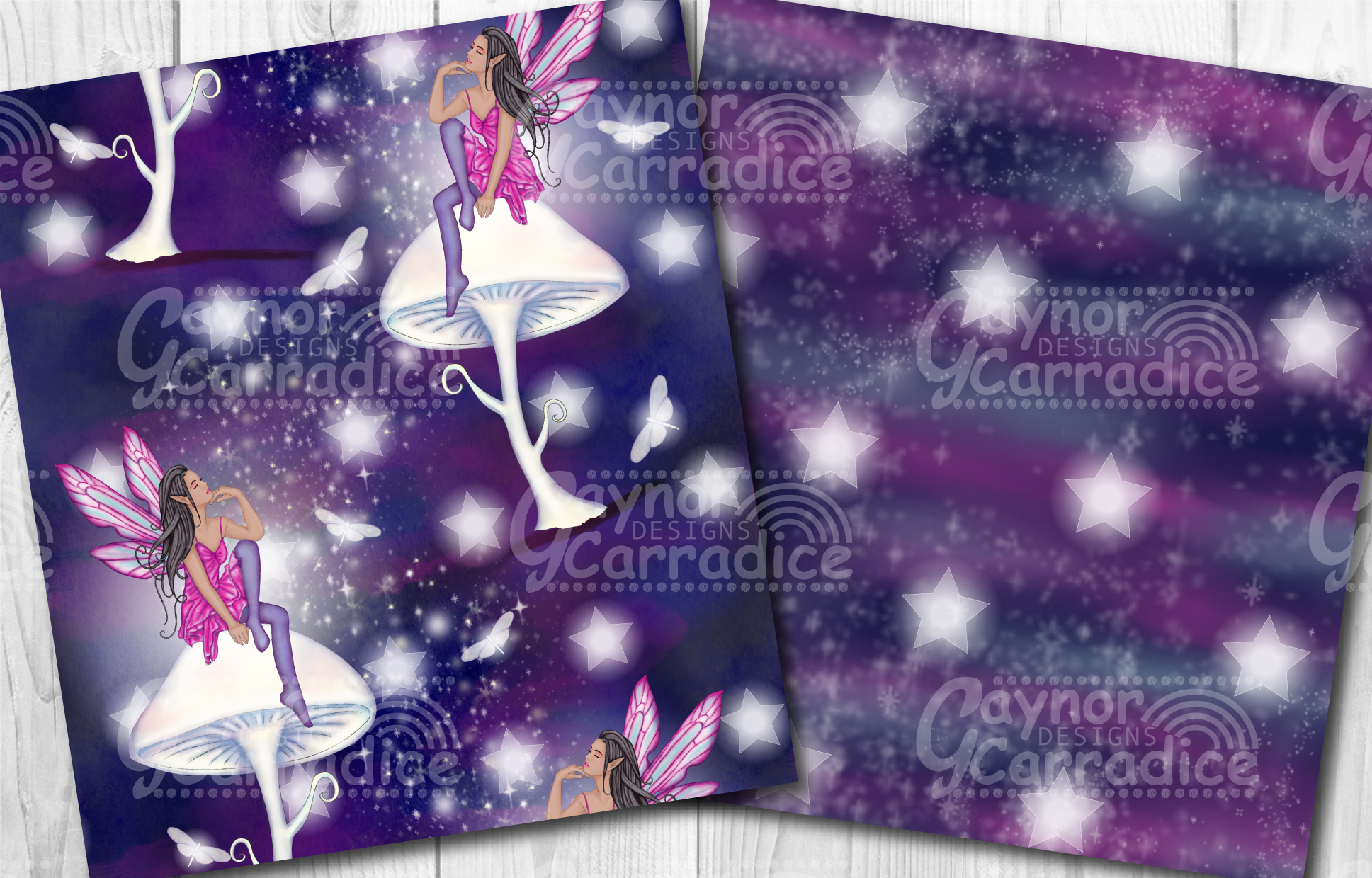 Moonlight Fairy Seamless Pattern Collection example image 2