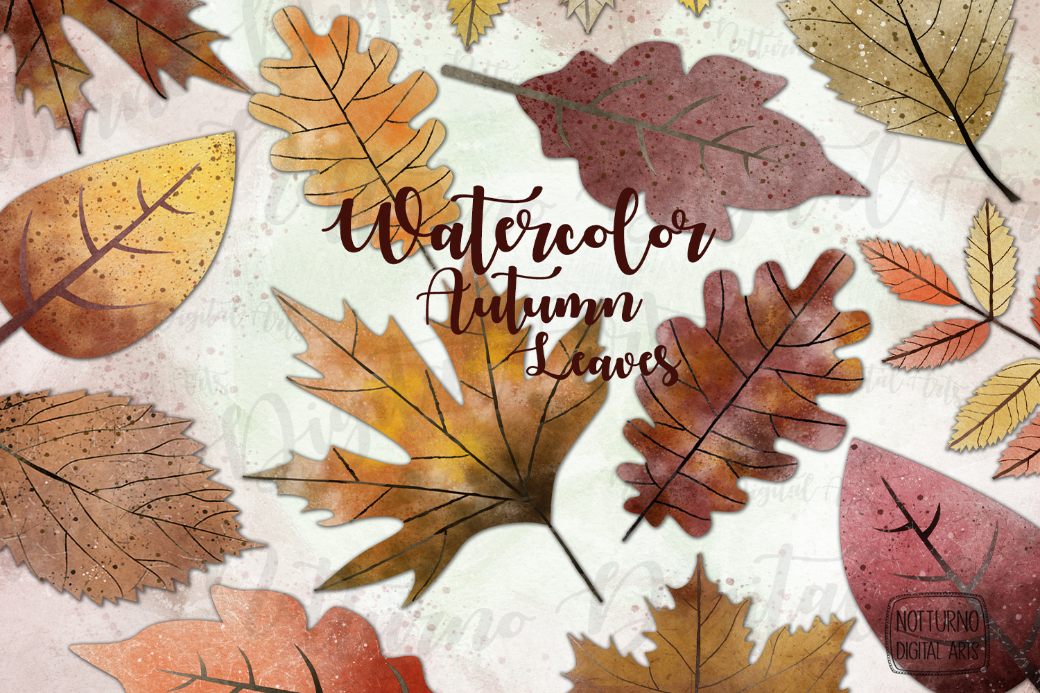Watercolor Autumn Leaves. Orange and Yellow leaves. example image 1