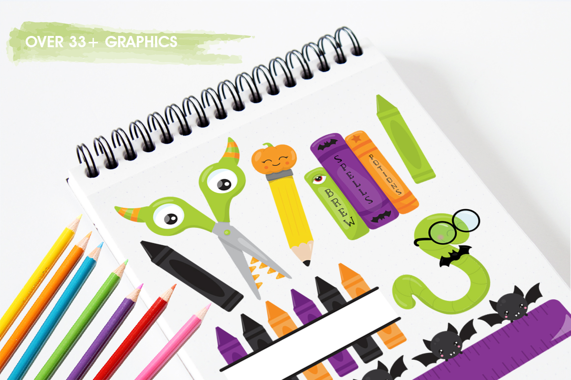 School Supplies graphic and illustrations example image 3