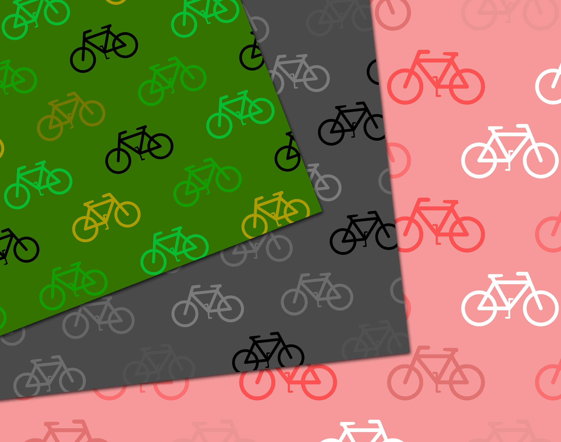 16 Rainbow coloured bicycle pattern digital paper example image 2