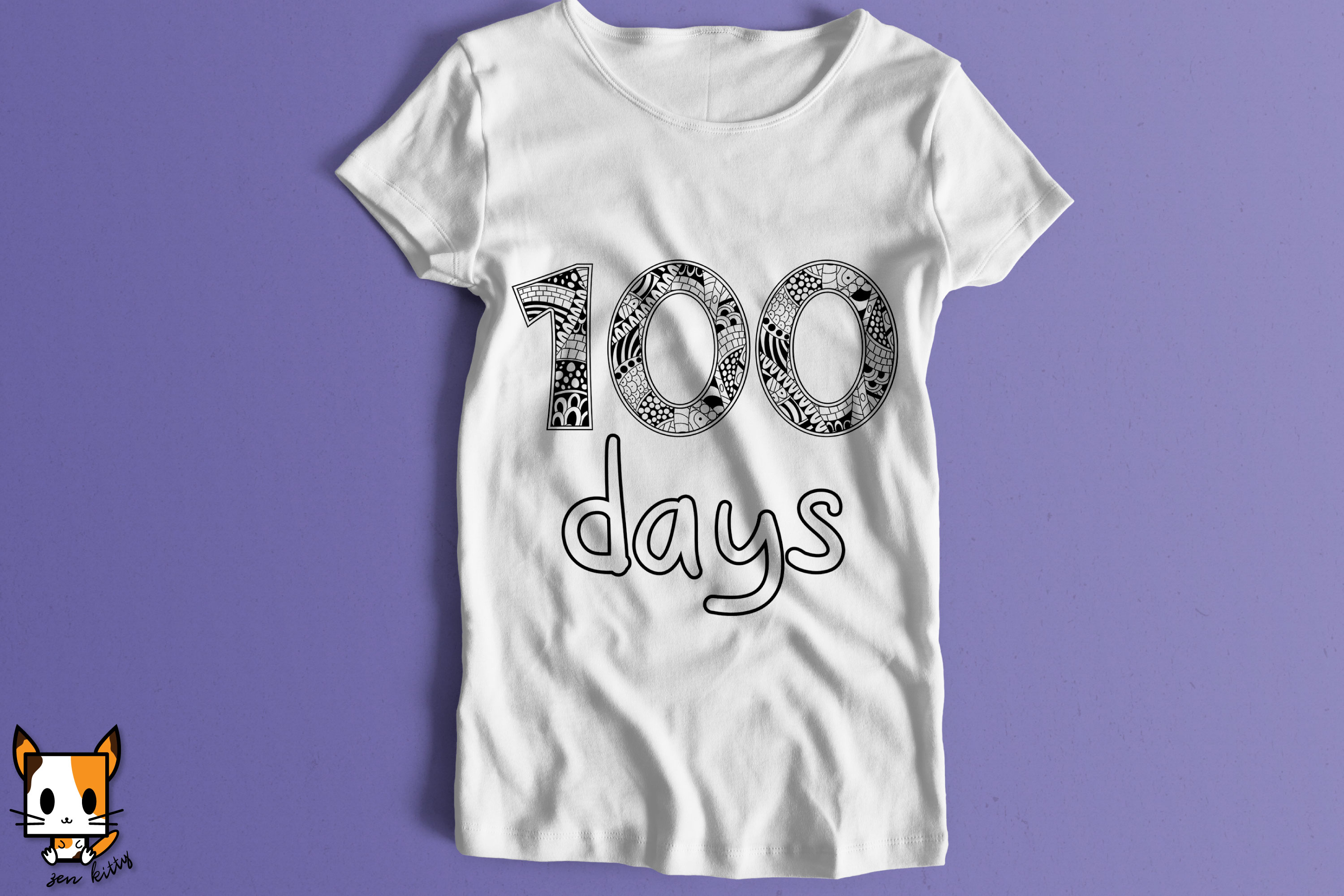 100 Days of School - Coloring Shirt Zentangle SVG PNG DXG example image 2