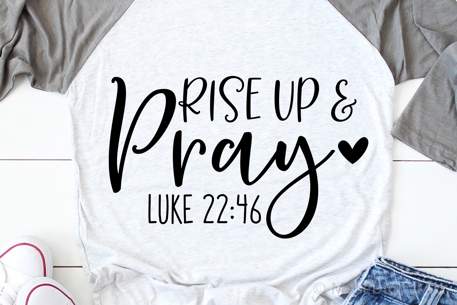 Rise Up and Pray Svg, Scripture Svg, Luke 22 46, Bible Quote example image 1