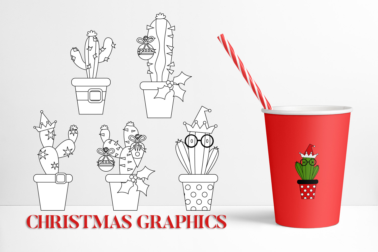 Christmas Bundle, Cactus and Flowers Illustrations example image 5