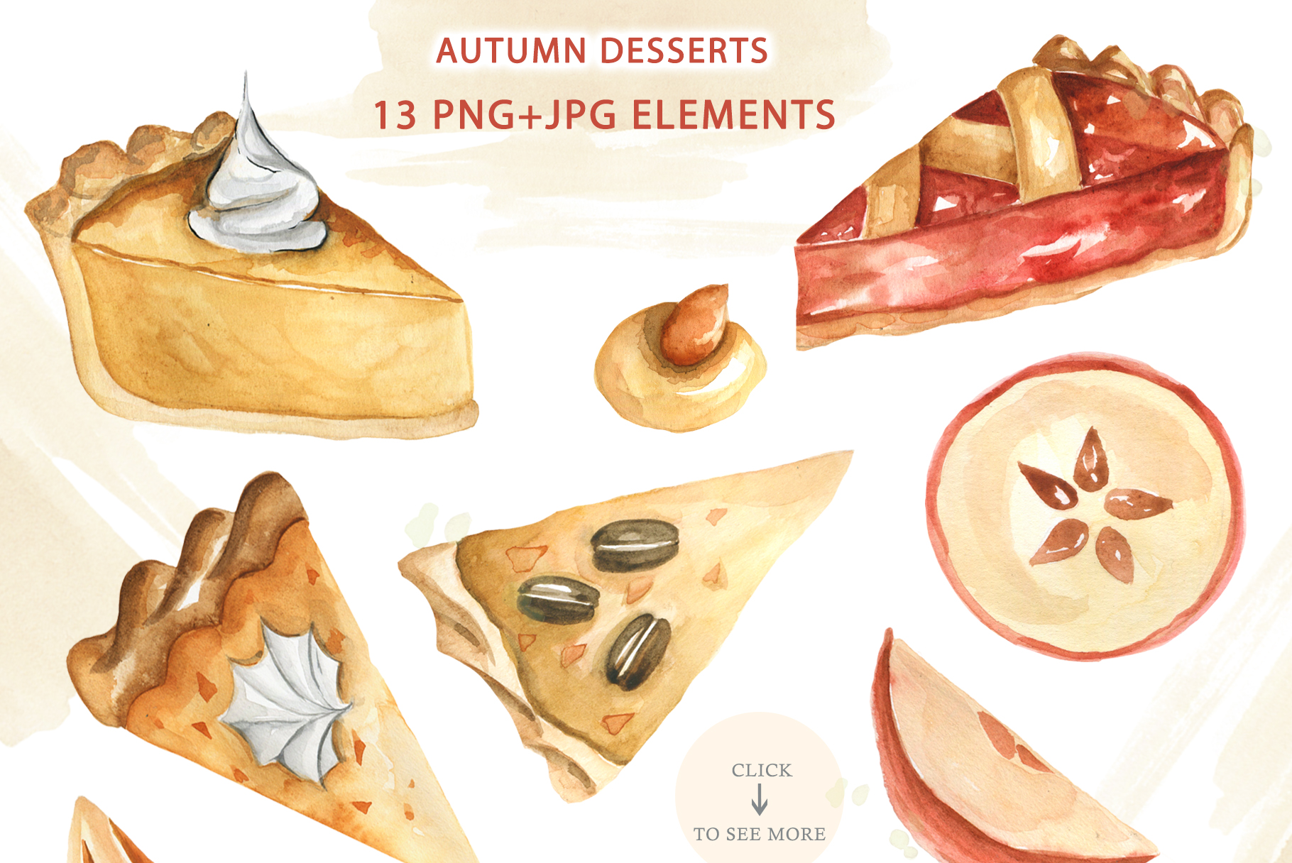 Watercolor Traditional Autumn Desserts example image 2