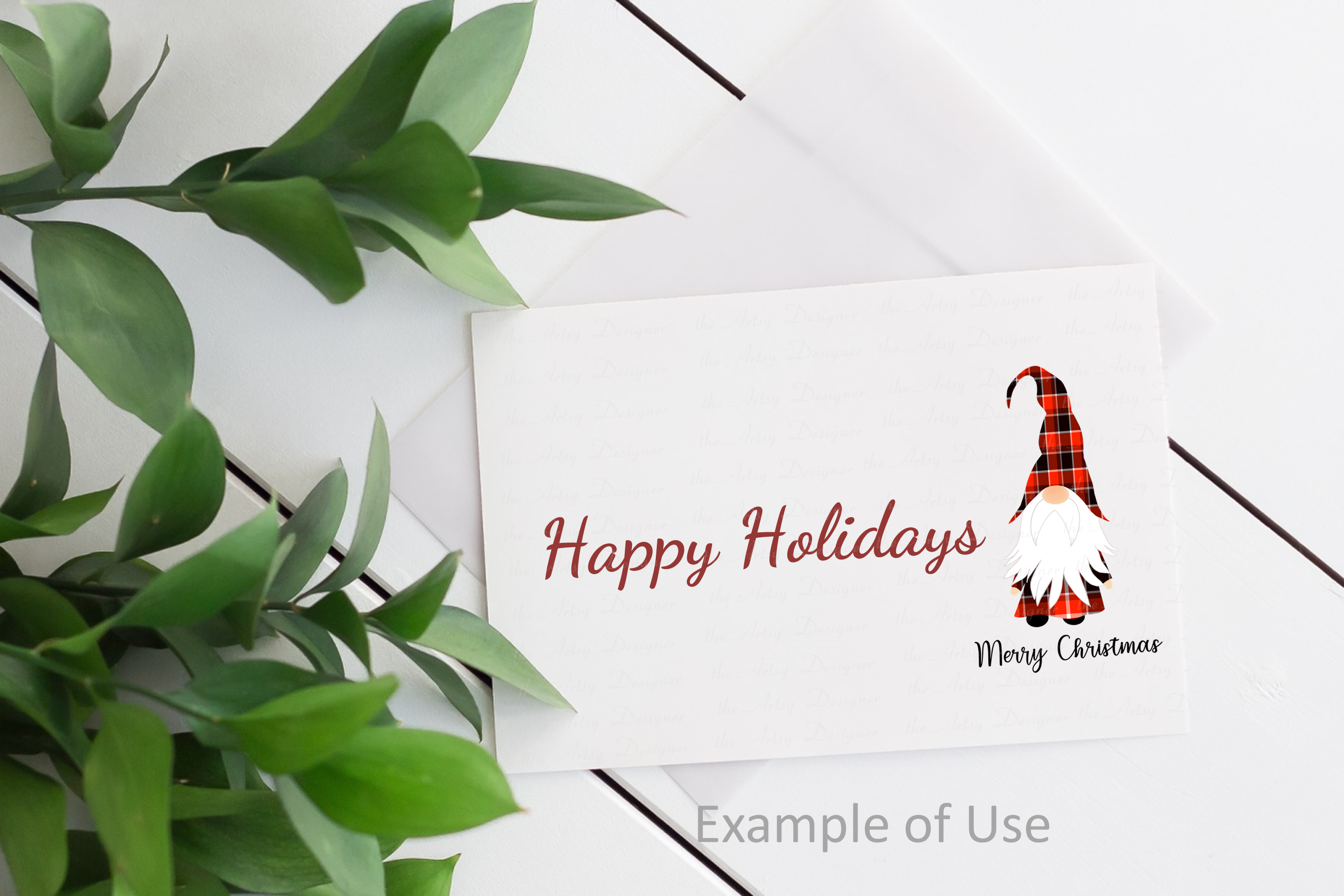 Merry Christmas Gnome Red Buffalo Plaid Sublimation ClipArt example image 3