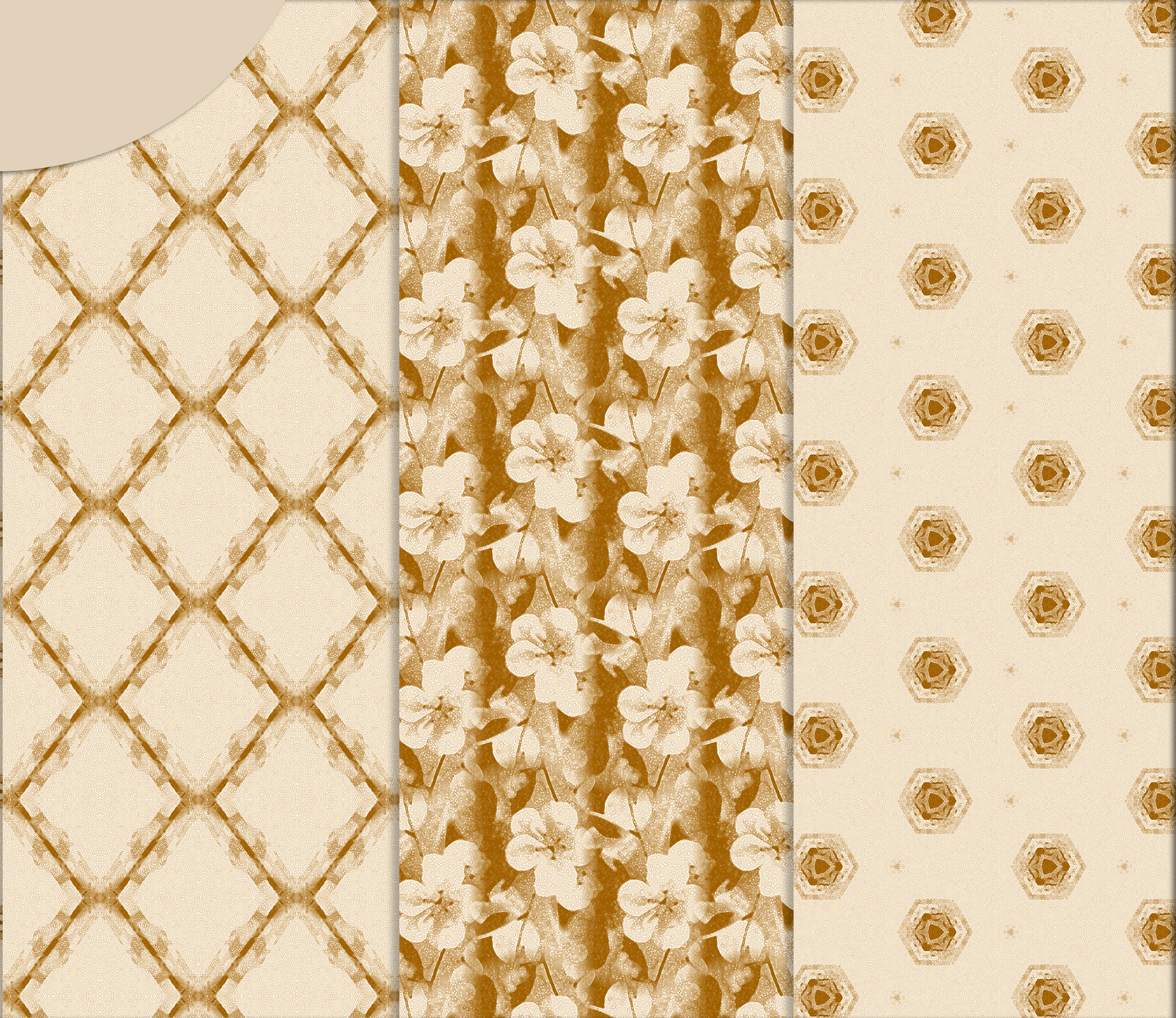 Ancient white-beige floral and geometrical Scrapbook Paper. example image 3