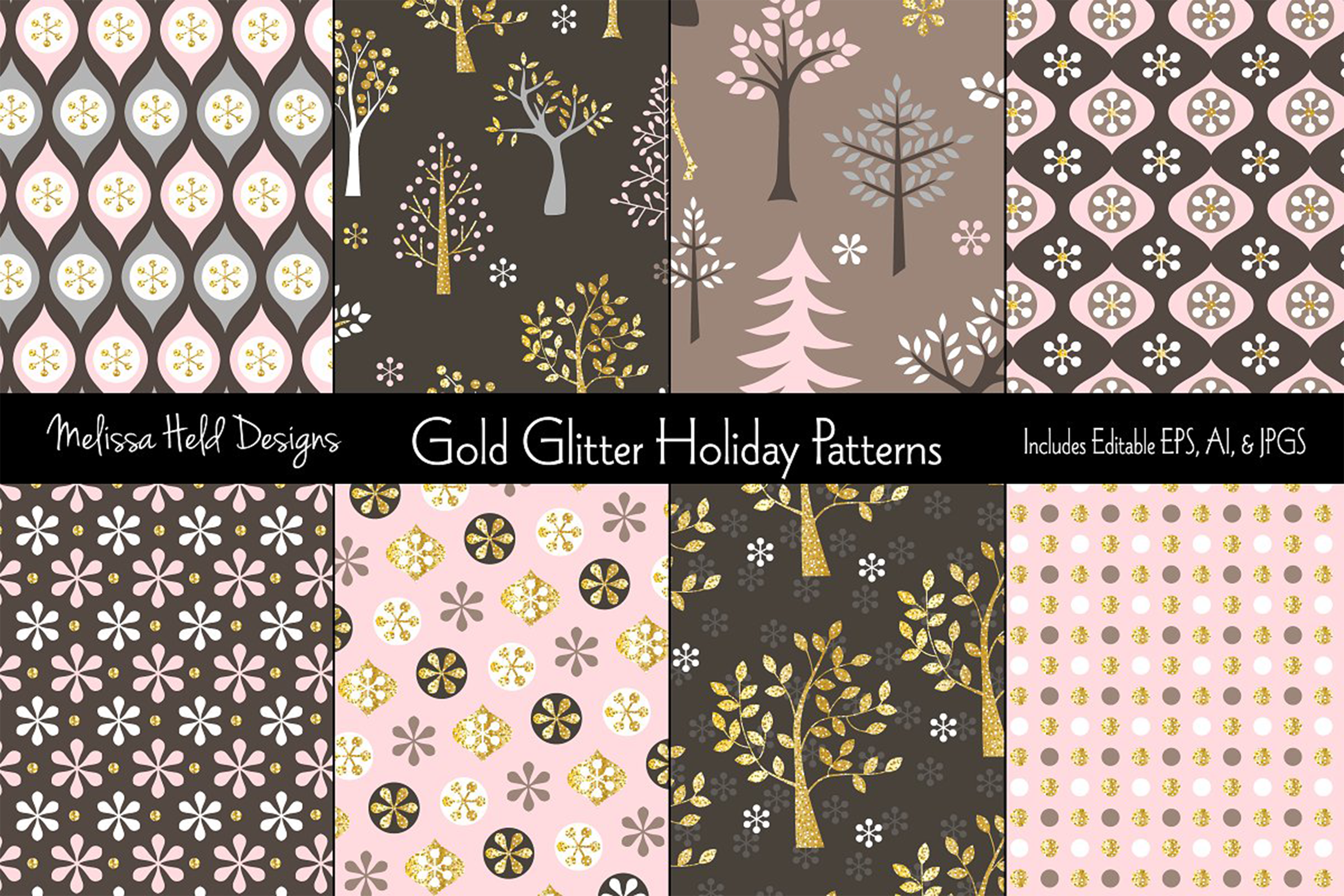 Gold Glitter Holiday Patterns example image 1