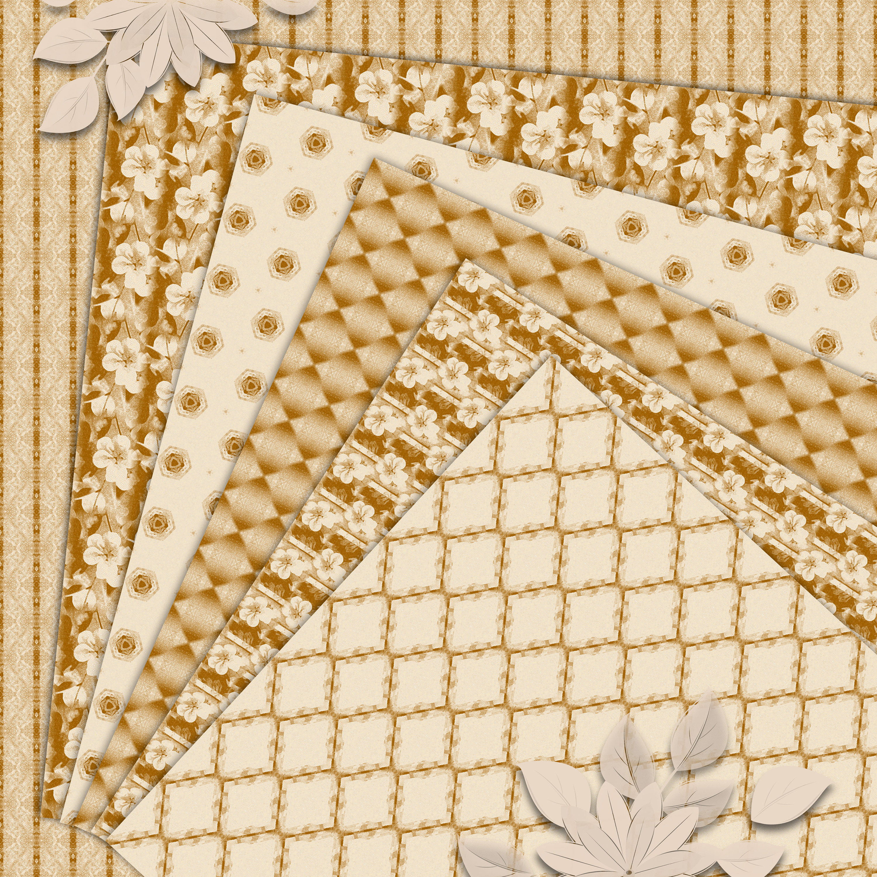 Ancient white-beige floral and geometrical Scrapbook Paper. example image 5