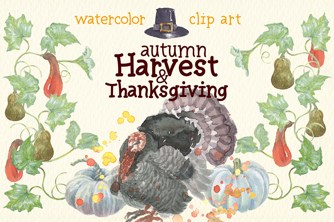watercolor autumn, harvest and thanksgiving clipart example image 3