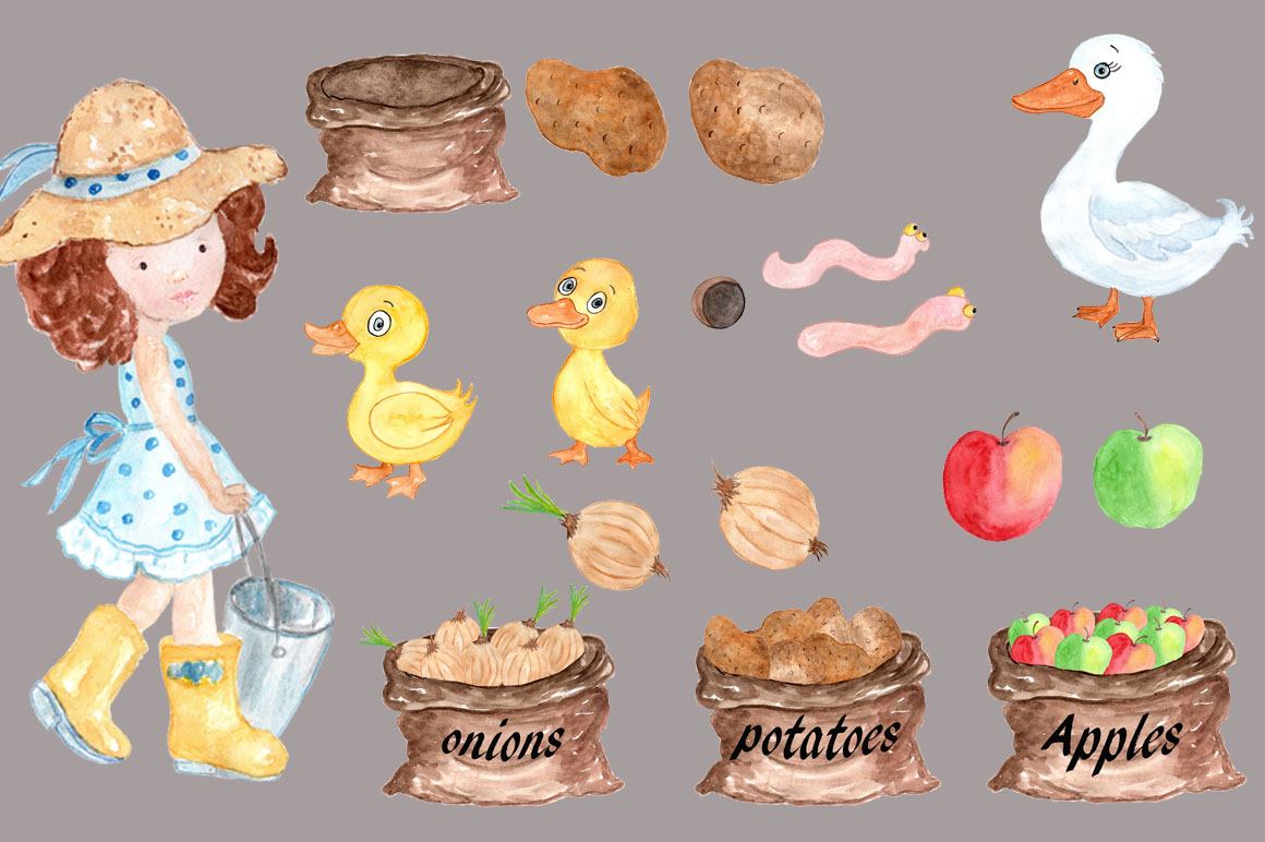 Watercolor farm animals clipart example image 3