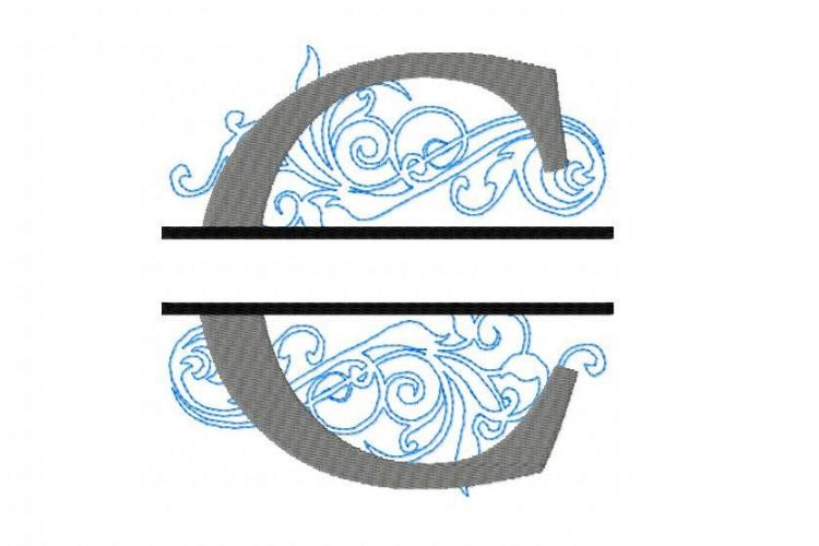 Embroidery Fonts Split Monogram, Monogram C, 4X4 5X7 6x10 example image 3