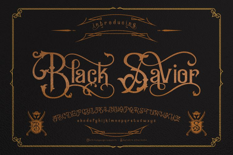 Black Savior - decorative calligraphy Display Font example image 2