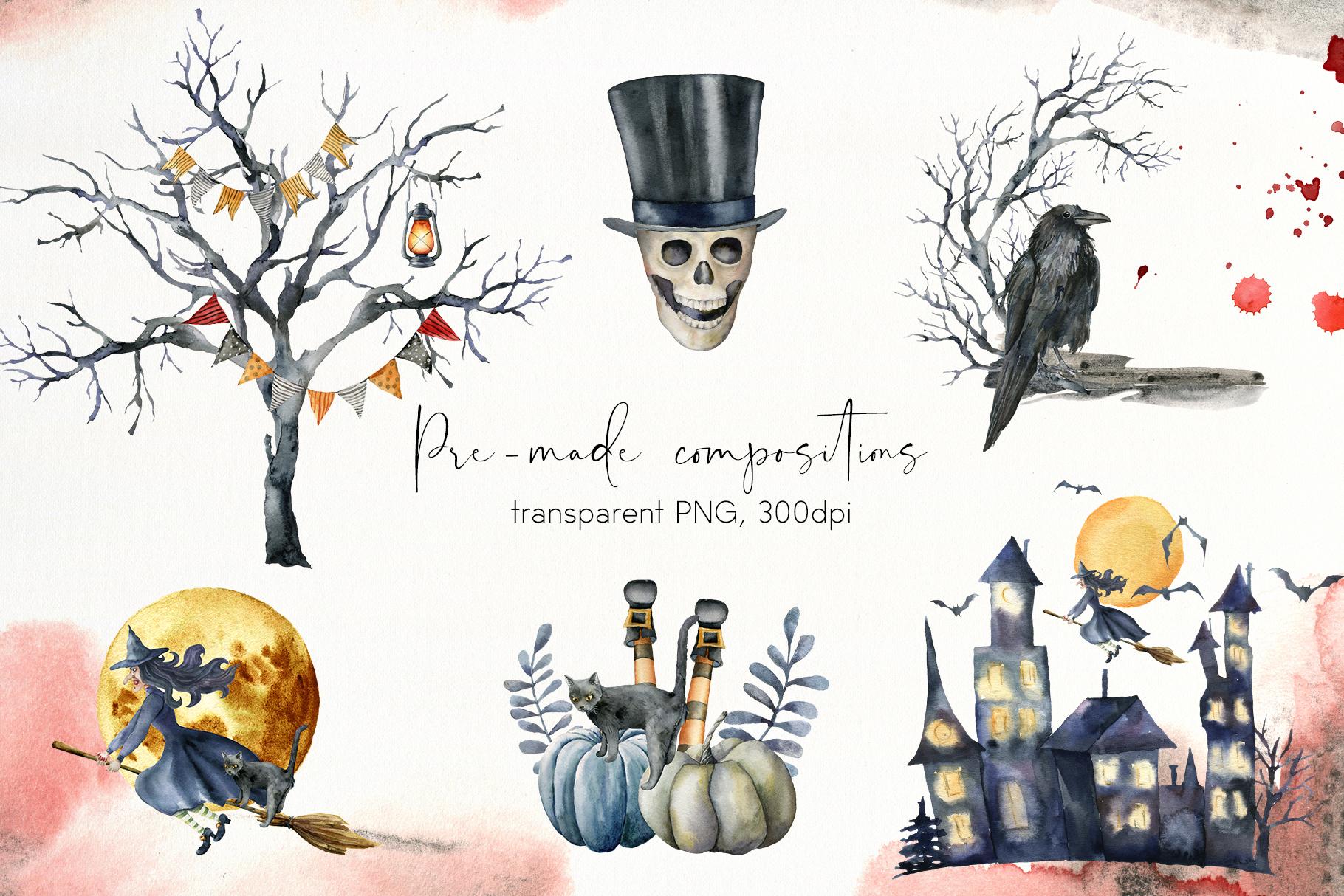 Halloween night. Watercolor clip art example image 6