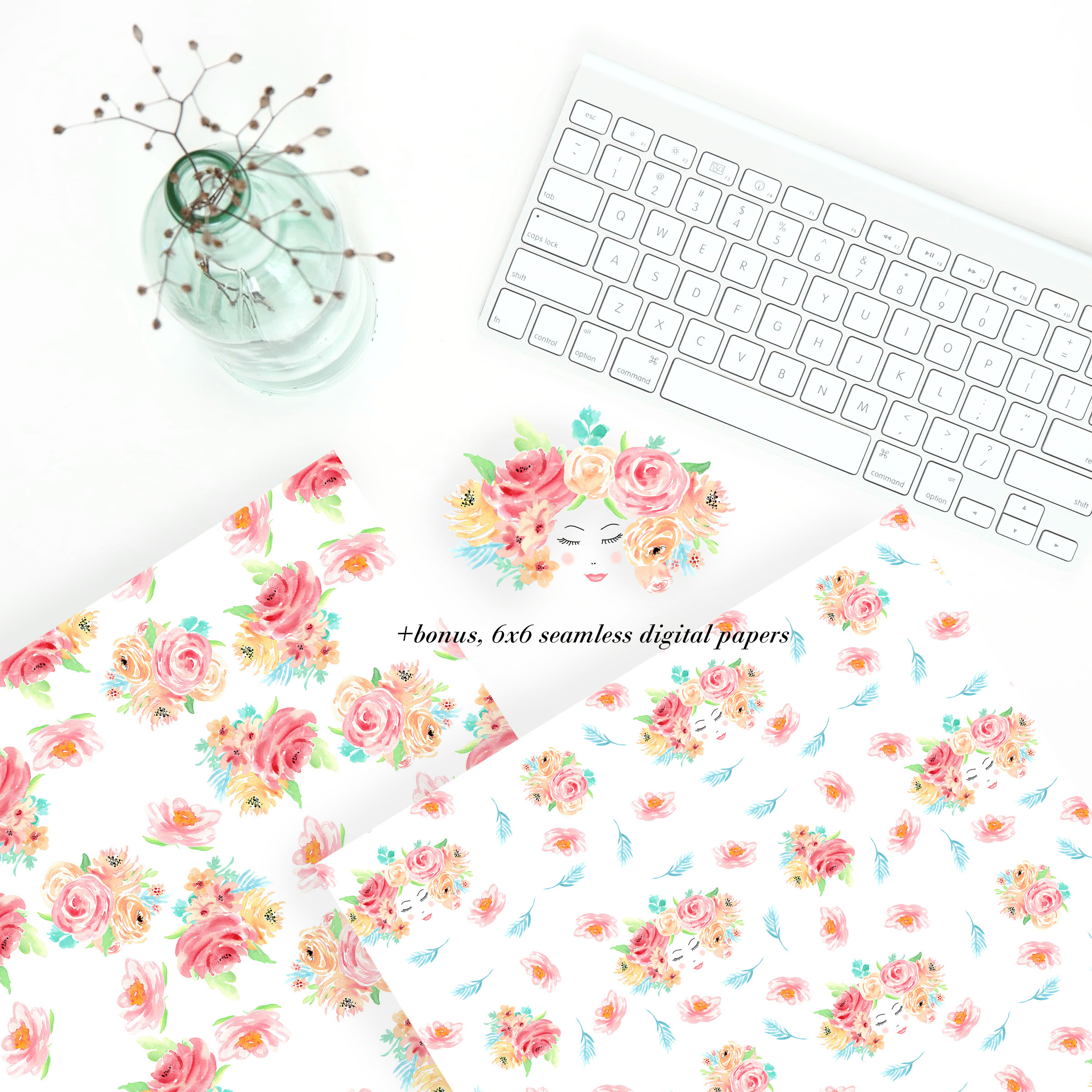 Watercolor flowers clip art. For wedding invitations, scrapbook, thank you card, logo creations. BOHO, Hand painted Watercolor floral example image 4