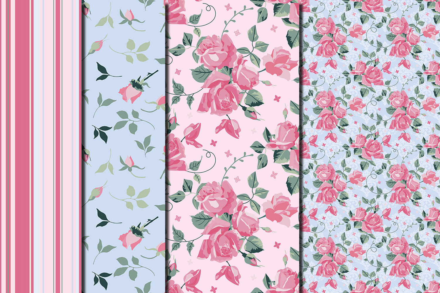 Shabby chic pink roses seamless digital paper pack example image 3
