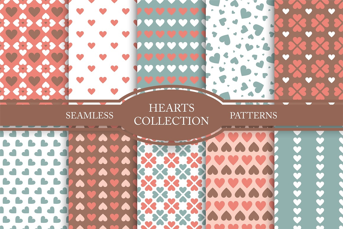 Set of seamless hearts patterns example image 1