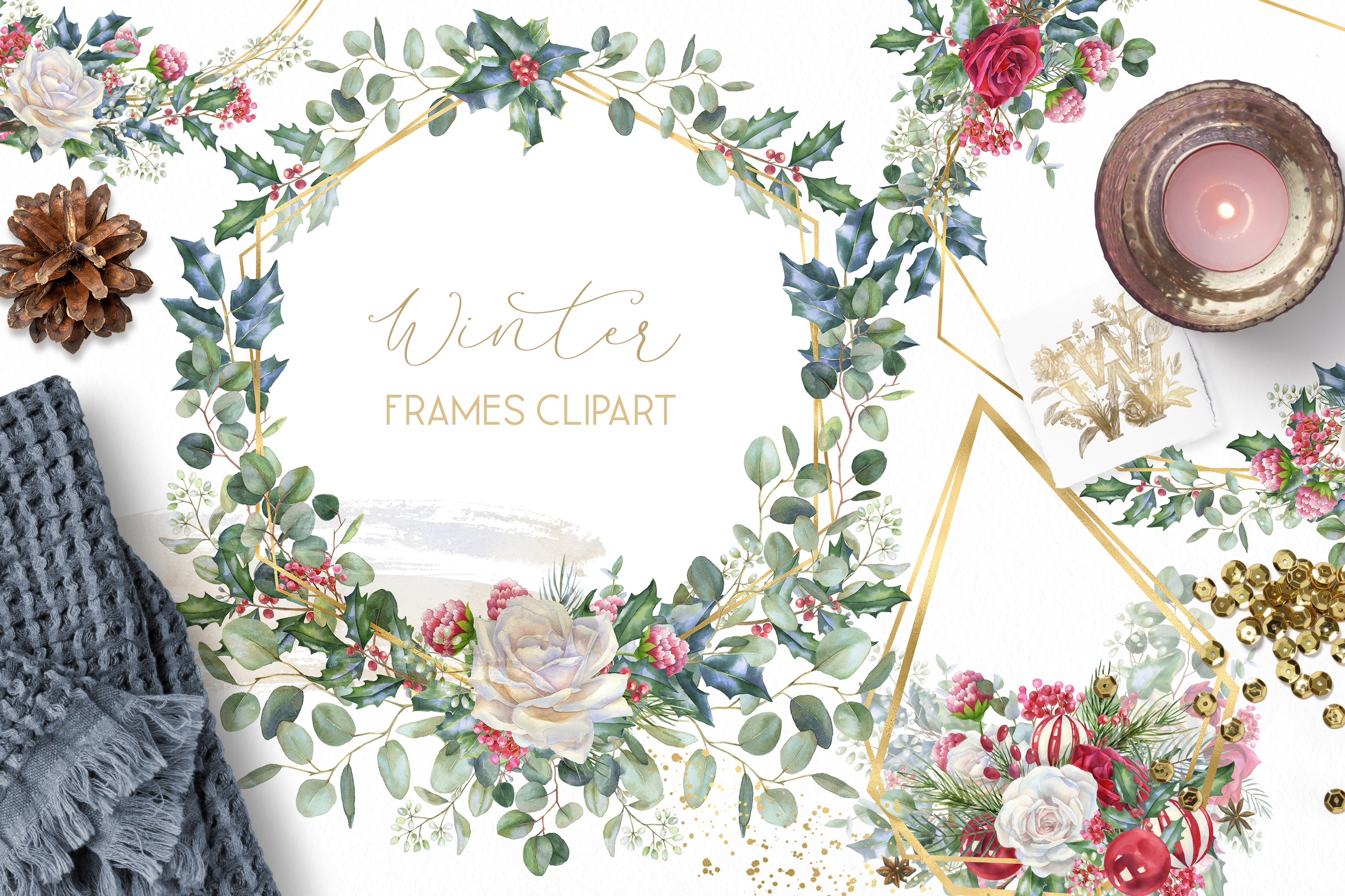 Winter frames clipart, watercolor Christmas borders png example image 1