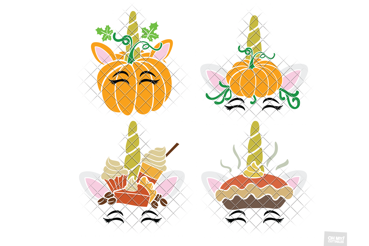 Thanksgiving Unicorn SVG Pumpkin in SVG, DXF, PNG, EPS, JPEG example image 3