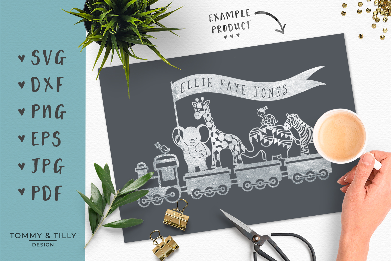 Animal Train - SVG DXF PNG EPS JPG PDF Cutting File example image 6