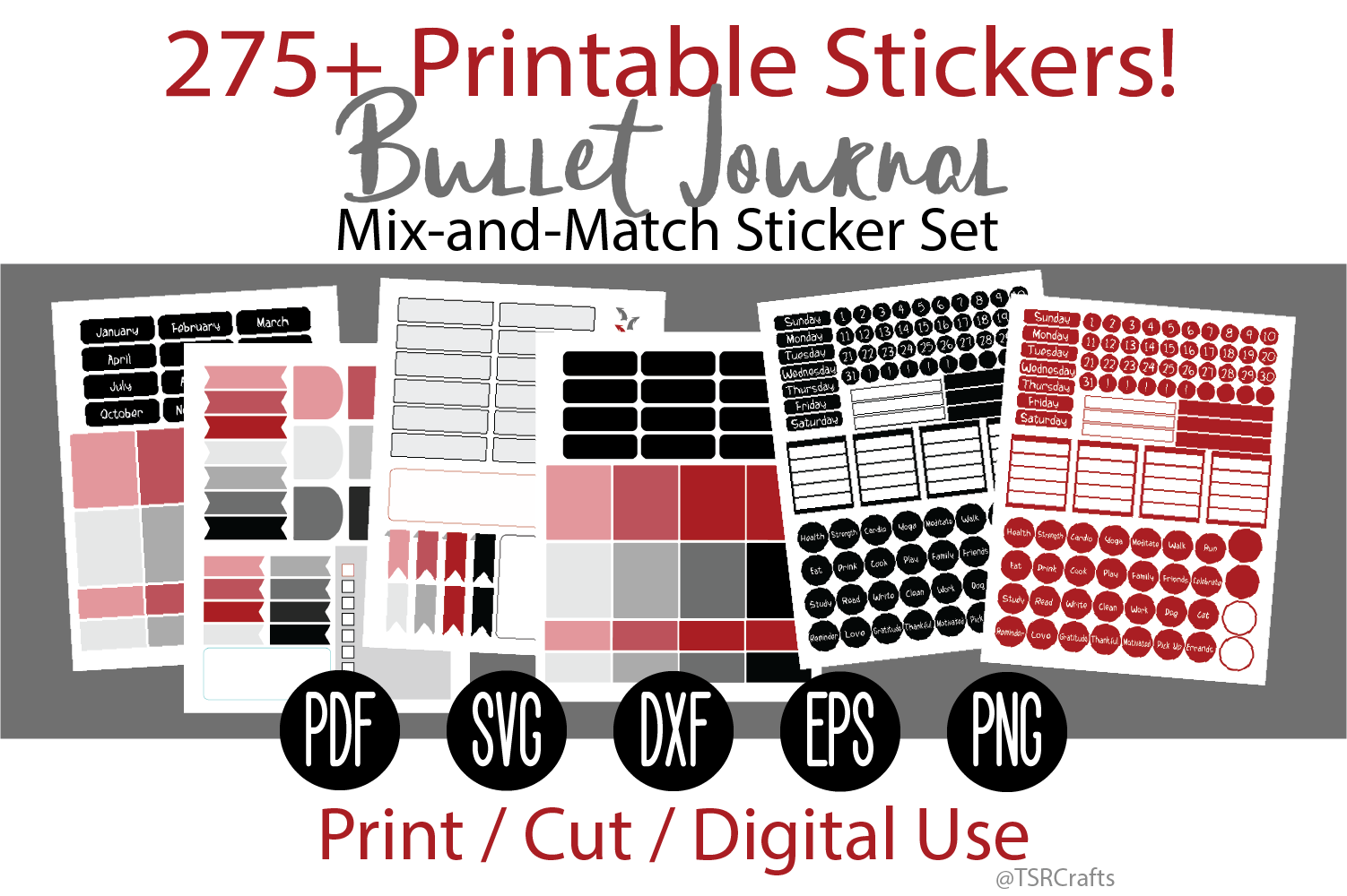 Bullet Journal and Planner Sticker Set - Red and Black example image 1