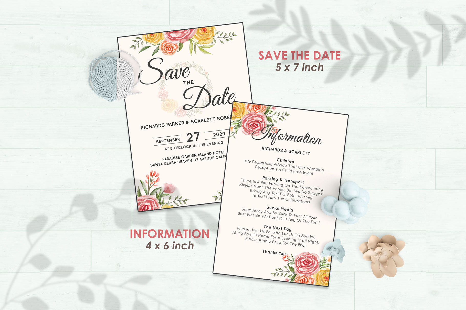 Wedding Invitation Set #3 Watercolor Floral Flower Style example image 3
