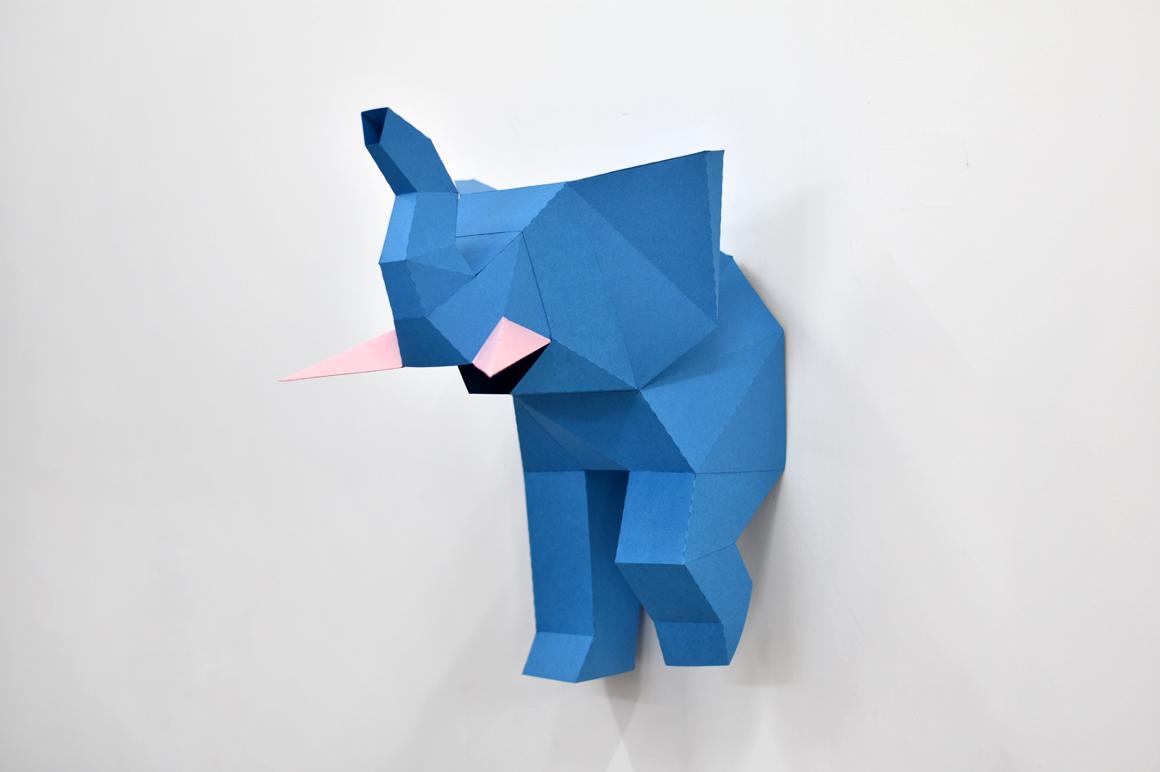 DIY Elephant trophy - 3d papercraft example image 4