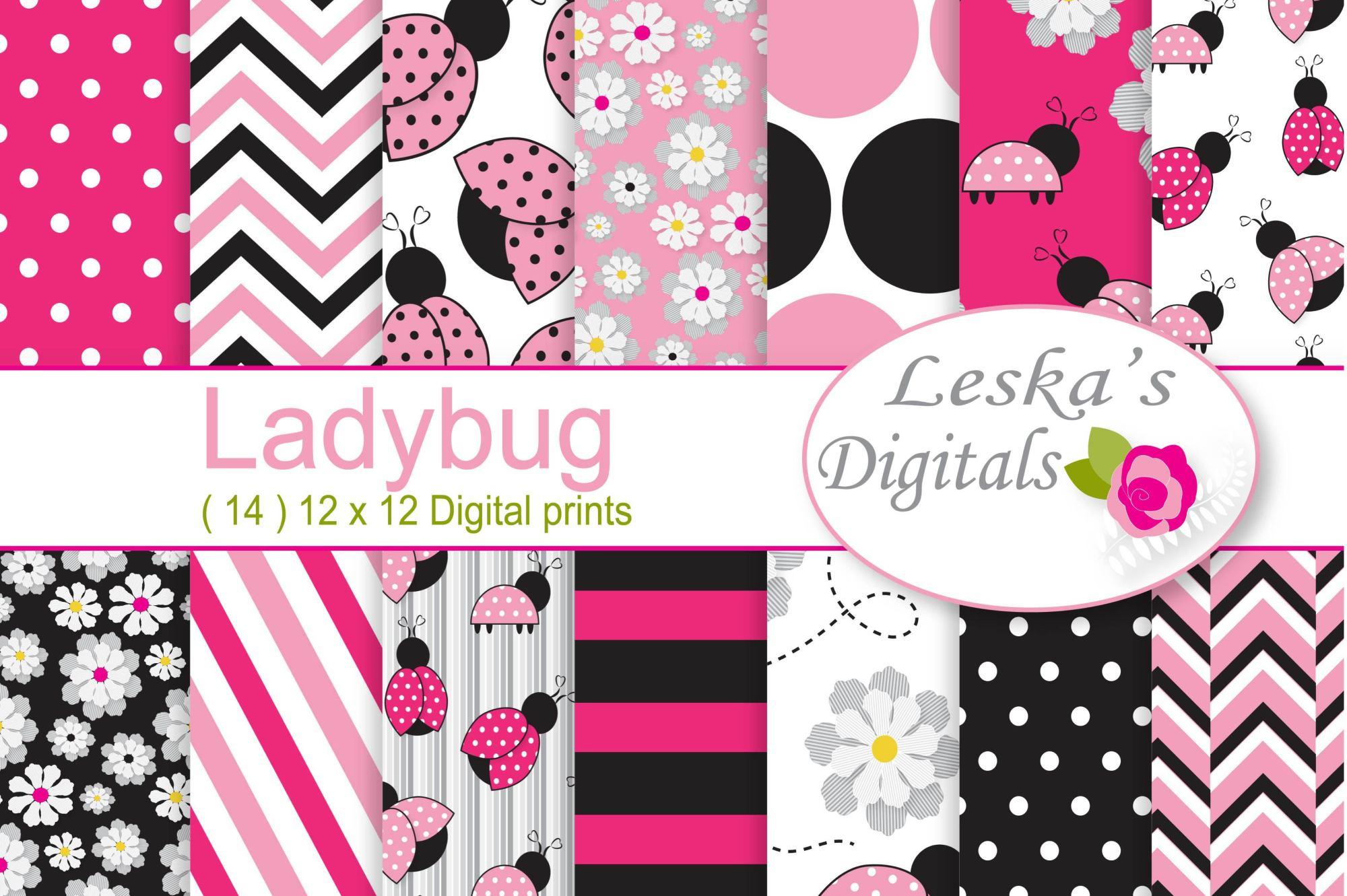 Pink Ladybug Digital Paper  example image 1