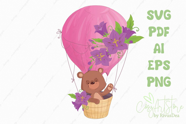 Teddy bear flying on a Hot air balloon SVG vector clipart example image 1