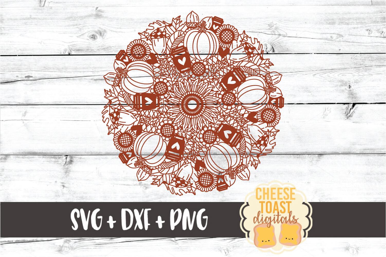 Pumpkin Spice Mandala - Fall Mandala SVG PNG DXF Cut File example image 2