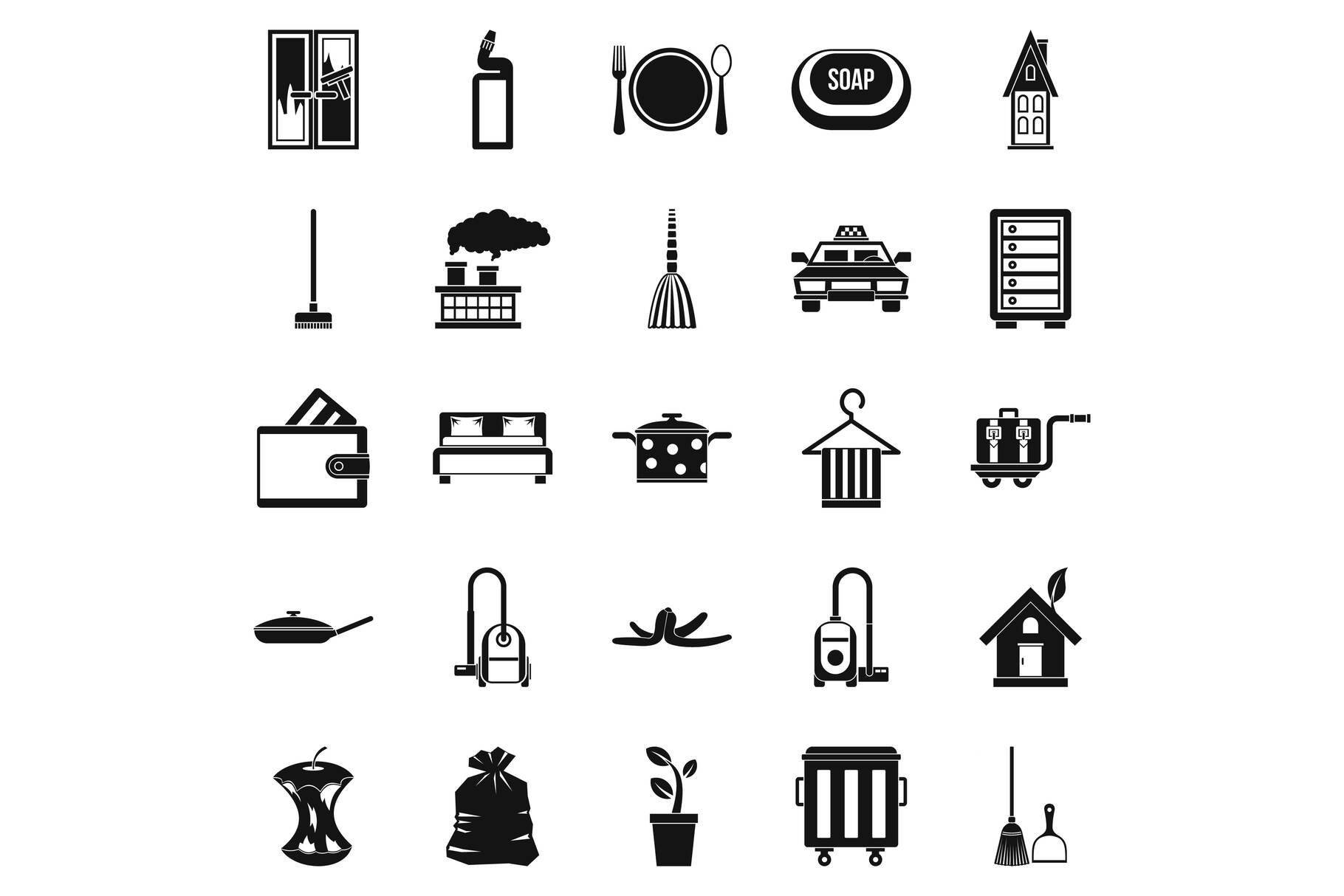 Clean up icons set, simple style example image 1