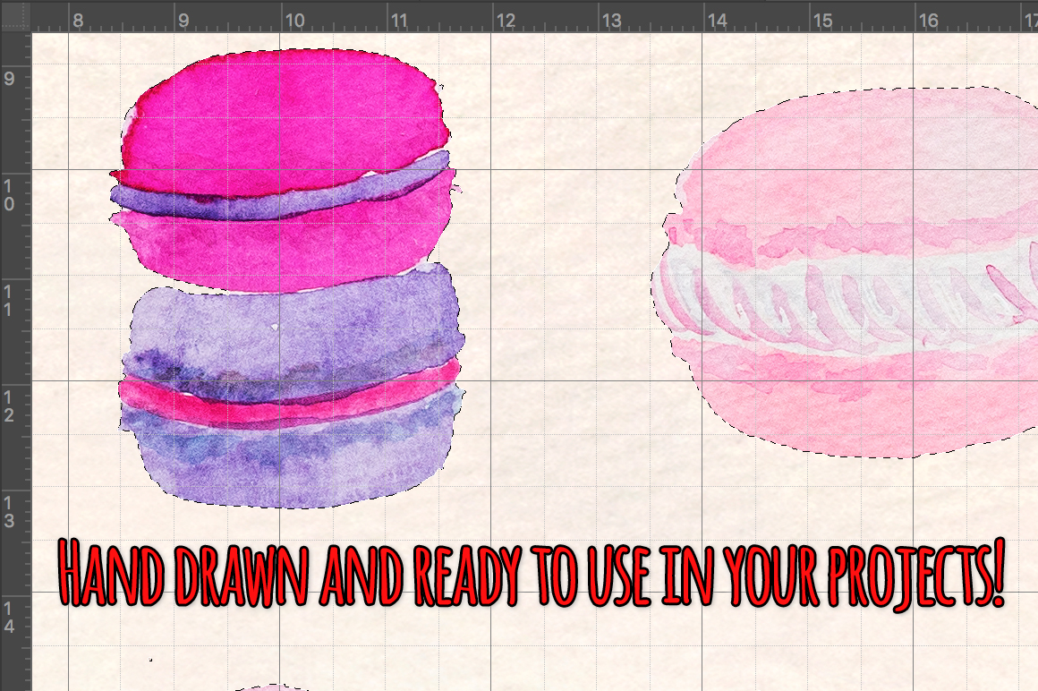 35 Pretty French Macarons Watercolor Graphic Elements example image 3