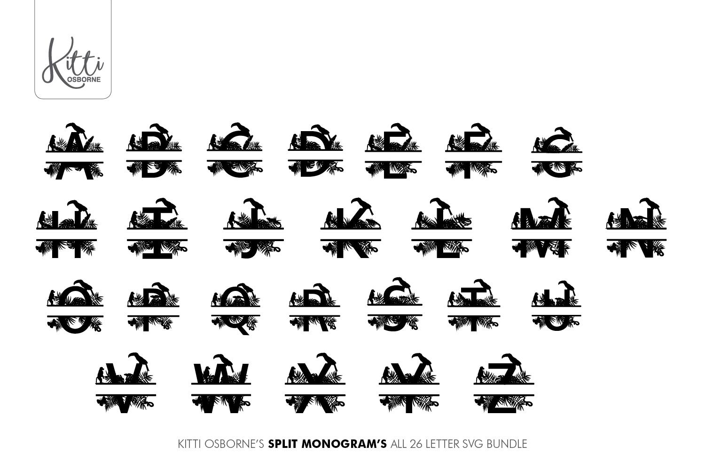 Split Letters A-Z SVG's Jungle Monograms example image 2